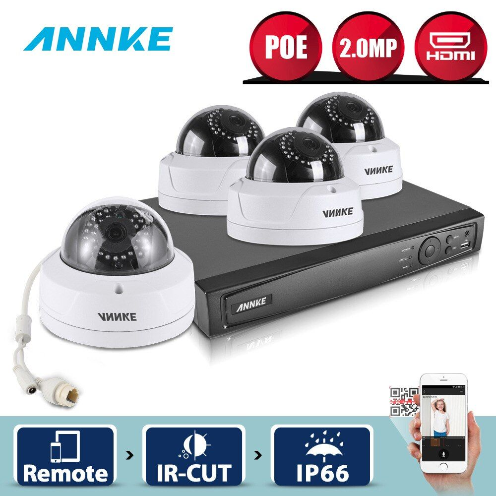 ANNKE 1080P POE Security Camera System 4CH 6MP Security NVR With 4pcs 1080P CCTV Dome Weatherproof Cameras Smart Search 3D WDR