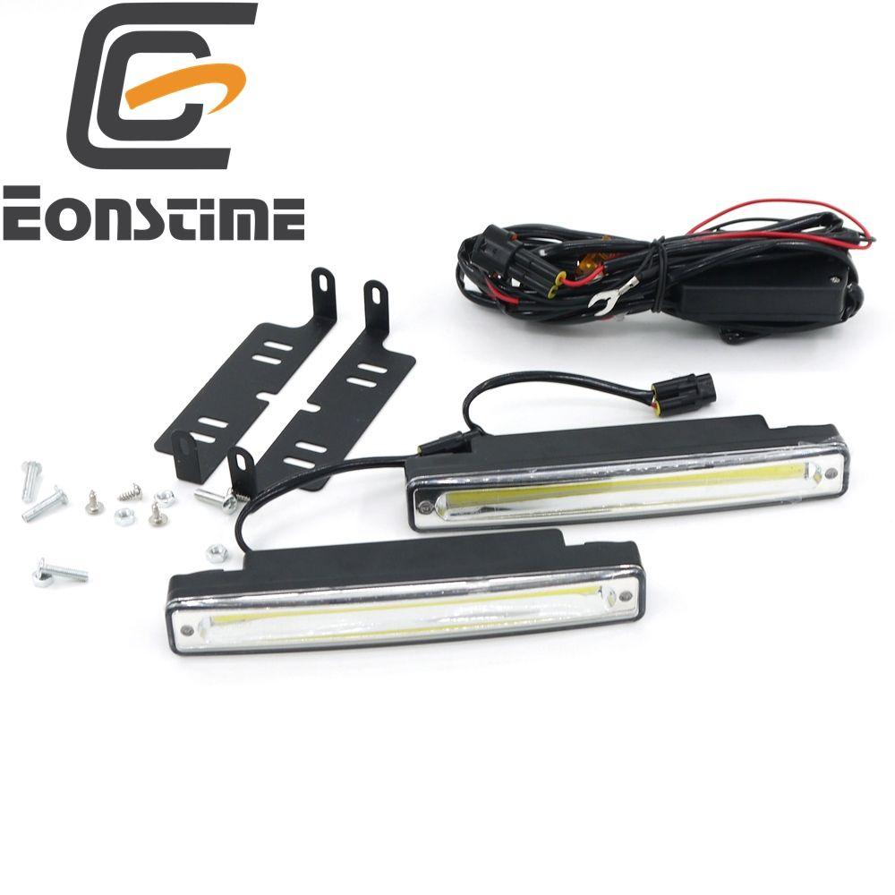 Eonstime 2 pièces Ultra Lumineux 8 W COB Imperméable Feux 6500 K LED Voiture DRL brouillard 12 V/24 V hors lumière Conducteur Actuel