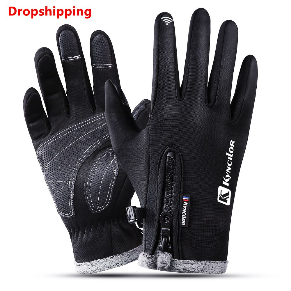 Kyncilor Climbing Gloves Wear-resistant Anti-slip PU Palm Windstopper Waterproof Thicker Touch Screen MTB Glove Hiking Gloves