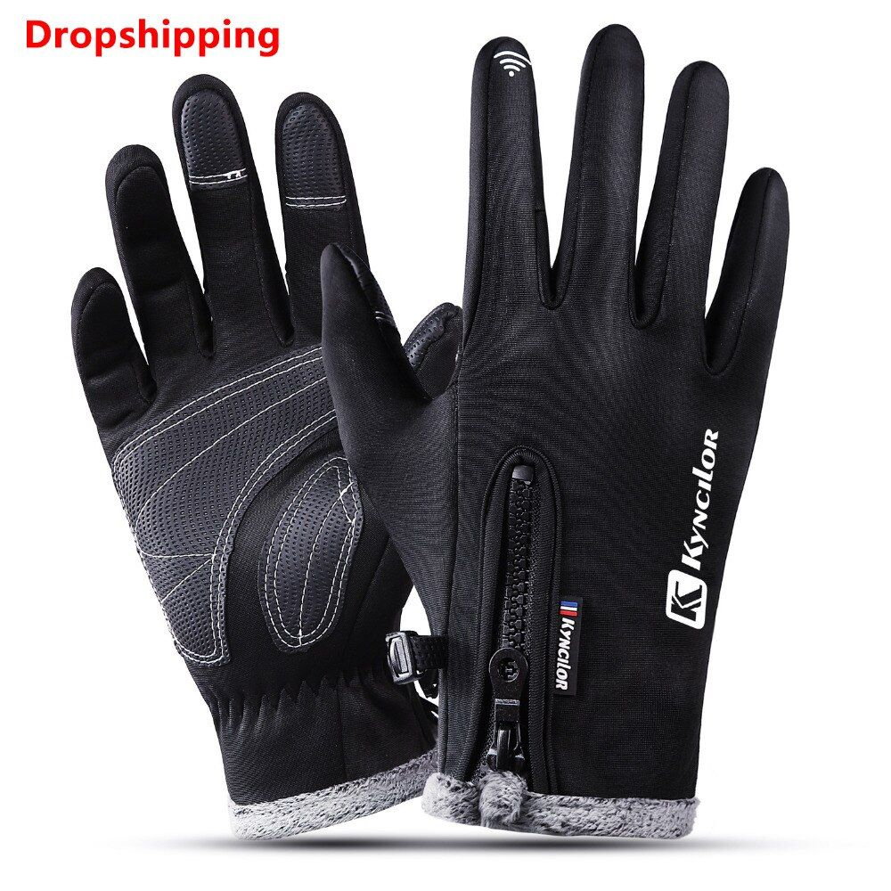 Kyncilor Climbing Gloves Wear-resistant Anti-slip PU Palm Windstopper Waterproof Thicker Touch Screen MTB Glove Hiking Gloves