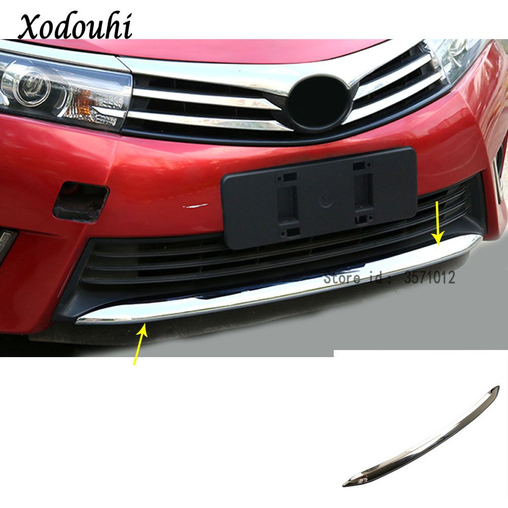 For Toyota Corolla Altis 2014 2015 2016 Car cover Bumper ABS Chrome trim Front protection bar bottom Grid Grill Grille frame edg