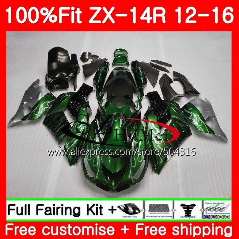 Injection Für KAWASAKI NINJA ZZR 1400 ZX 14R ZZR1400 25SH18 ZX14R 12 13 14 15 16 ZX-14R 2012 2013 2014 2015 verkleidung Silber schwarz