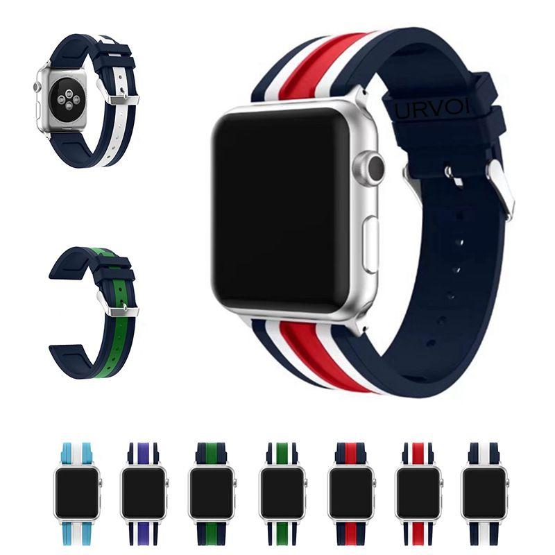 URVOI sport bande pour apple montre série 1 2 3 sangle pour iWatch Doux Silicone de mélange bande L'OTAN couleur bande De Remplacement avec adaptateur