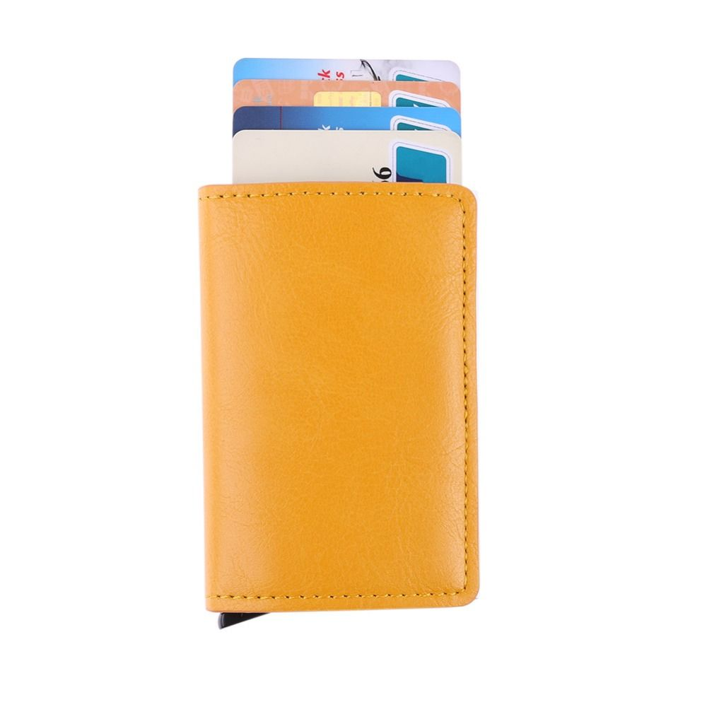 Male Metal Card Holder RFID Aluminium Alloy Credit Card Holder PU Leather Wallet Antitheft Men Automatic Pop Up Card Case 2019
