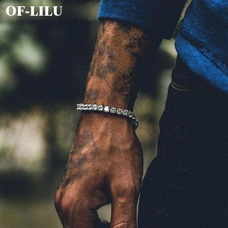 5mm glace perceuse Zircon Tennis chaîne Bracelet hommes Hip hop bijoux cuivre matériel or argent boîte fermoir CZ bracelets lien 19cm