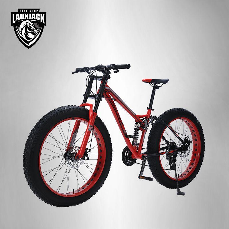 LAUXJACK Berg Fett Stahl Fahrrad Rahmen Voll Suspention 24 Geschwindigkeit Shimano Disc Bremse 26 x4.0 Rad Lange Gabel