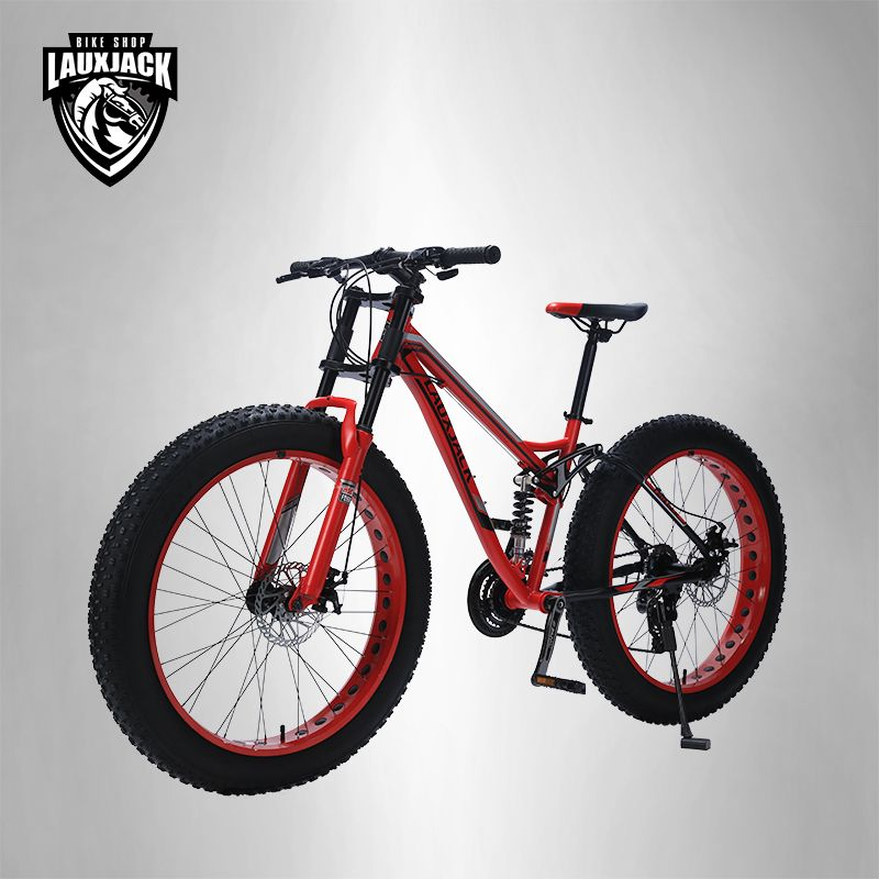 LAUXJACK Mountain Fat Bike Steel Frame Full Suspention 24 Speed Shimano Disc Brake 26