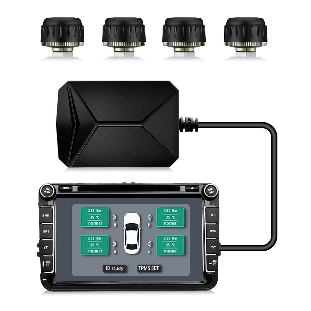 USB Android TPMS Powerful Car Tire Pressure Monitoring System with 4 External/ Internal Sensors 5V 116 psi Tyre Alarm System
