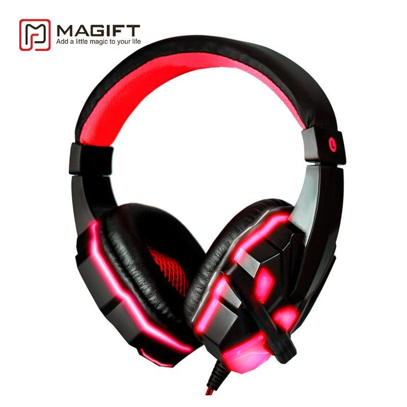 Magift Bass HD Gaming Headset Cool Glowing Mic Stereo Sound Wired Headphones With Microphone for Computer PC Laptop Gamer