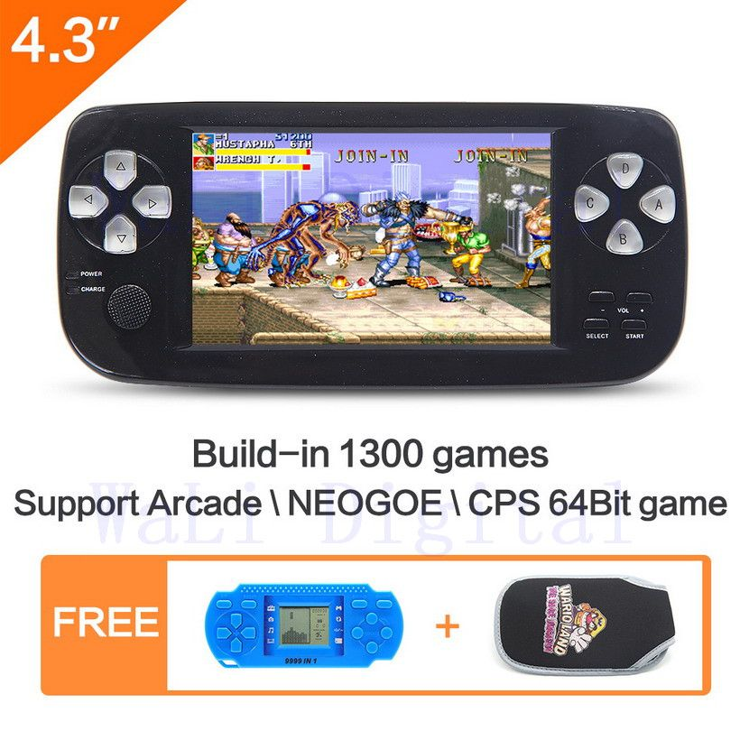 4.3 inch Handheld Video Game Console build in 1300 no-repeat game for NEOGEO\CPS\GBA\GBC\GB\SFC\FC\MD\GG\SMS MP3/4 DV PDF