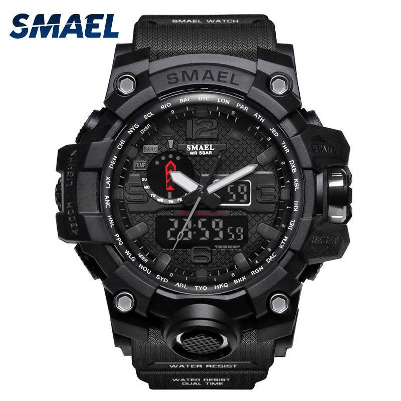 SMAEL Uhren Männer Sport Uhr Mann Große Uhr Military Watch luxus marke Armee relogio 1545 masculino LED Digital Uhr Wasserdicht