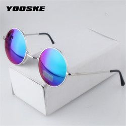 YOOSKE Women Men Alloy Round Sunglasses Male Female Metal Sun Glasses Gold Vintage Circle Sunglasses Feminine
