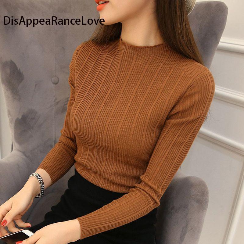 2018 Бесплатная доставка Для женщин стрейч вязать майка ретро водолазка Однотонный свитер вязаная одежда Вязание тонкий Пуловеры для женщин