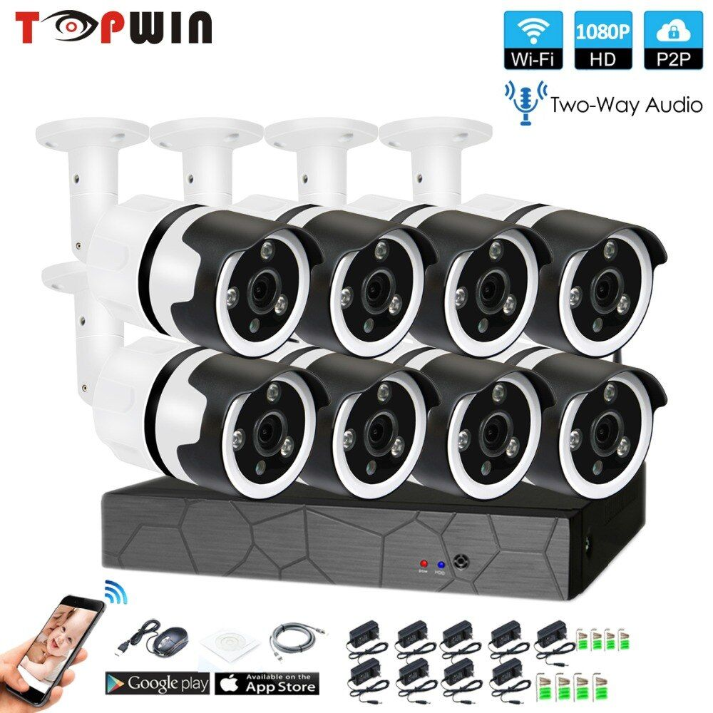 8CH zwei weg audio sprechen HD Wireless NVR Kit P2P 1080 p Indoor Outdoor IR Nachtsicht Sicherheit 2.0MP IP kamera WIFI CCTV System