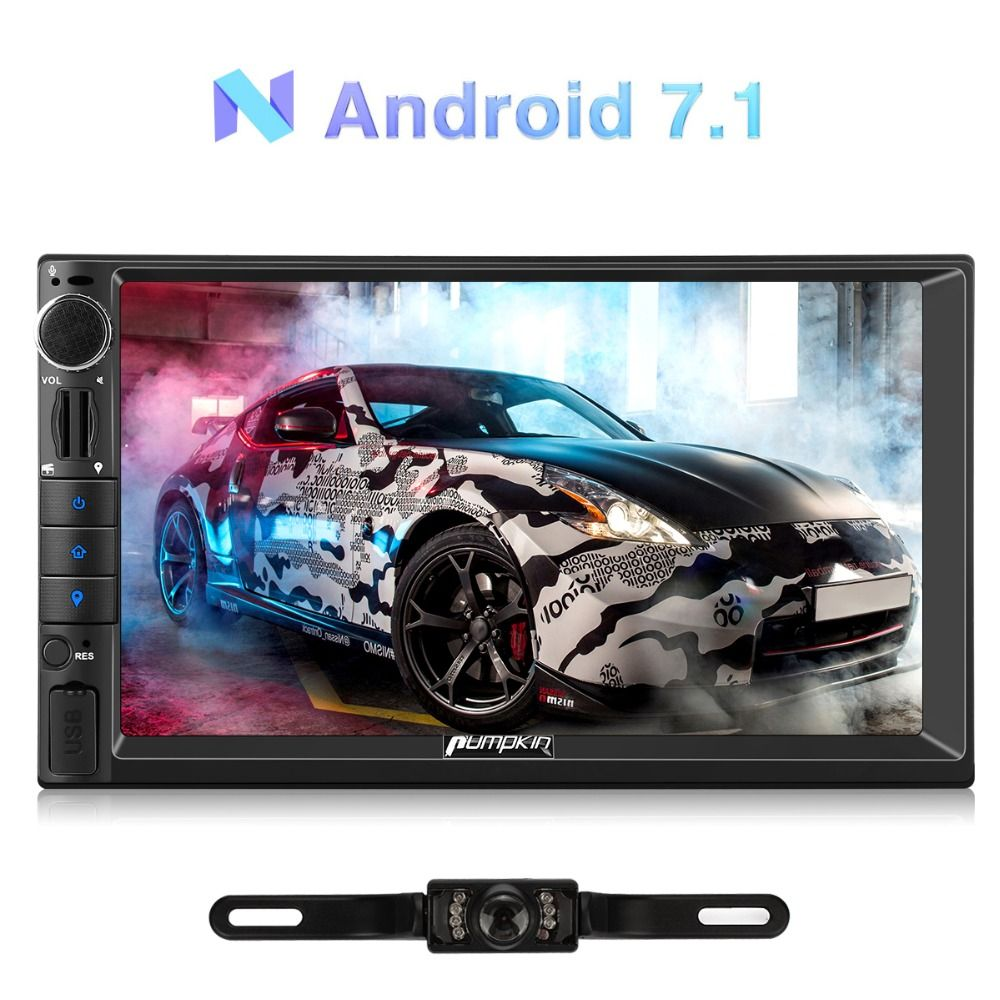 Pumpkin 2 Din 7''Android 7.1 Universal Car Radio No DVD Player GPS Navigation Quad-Core Car Stereo Headunit Support DAB DVR OBD2