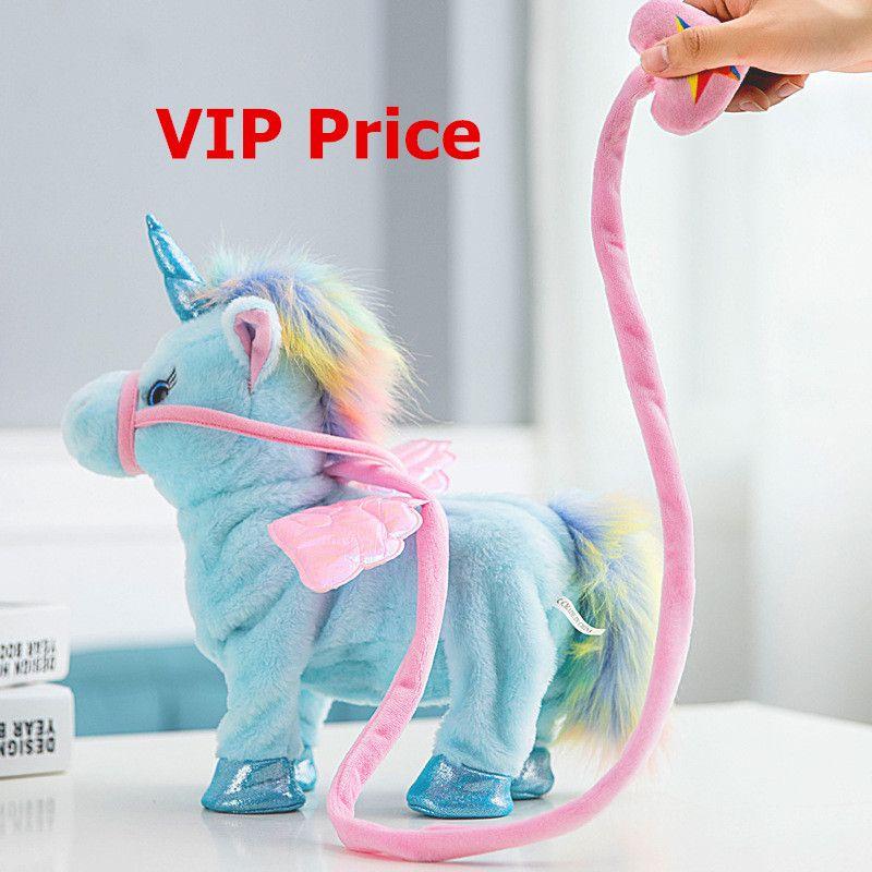 VIP Price 35cm Electric Walking Unicorn Plush Toy Stuffed Animal Toy Electronic Music Unicorn Toy for Children Christmas Gifts
