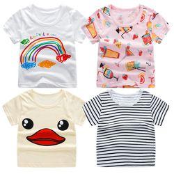 2018 Musim Panas Gadis & Anak Laki-laki Lengan Pendek T Shirt Kartun Print T-shirt Bergaris T-shirt Katun Gadis Puncak Untuk Anak-anak pakaian