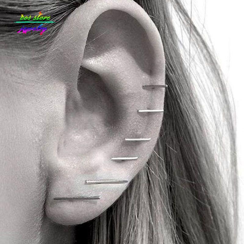 (3 Paar/satz) Neue Minimalistische Einfache Gold/Silber/Schwarz Vernickelt Bar Ohrstecker Für Frauen Bijoux Boucle d'oreille Partei Ohrringe