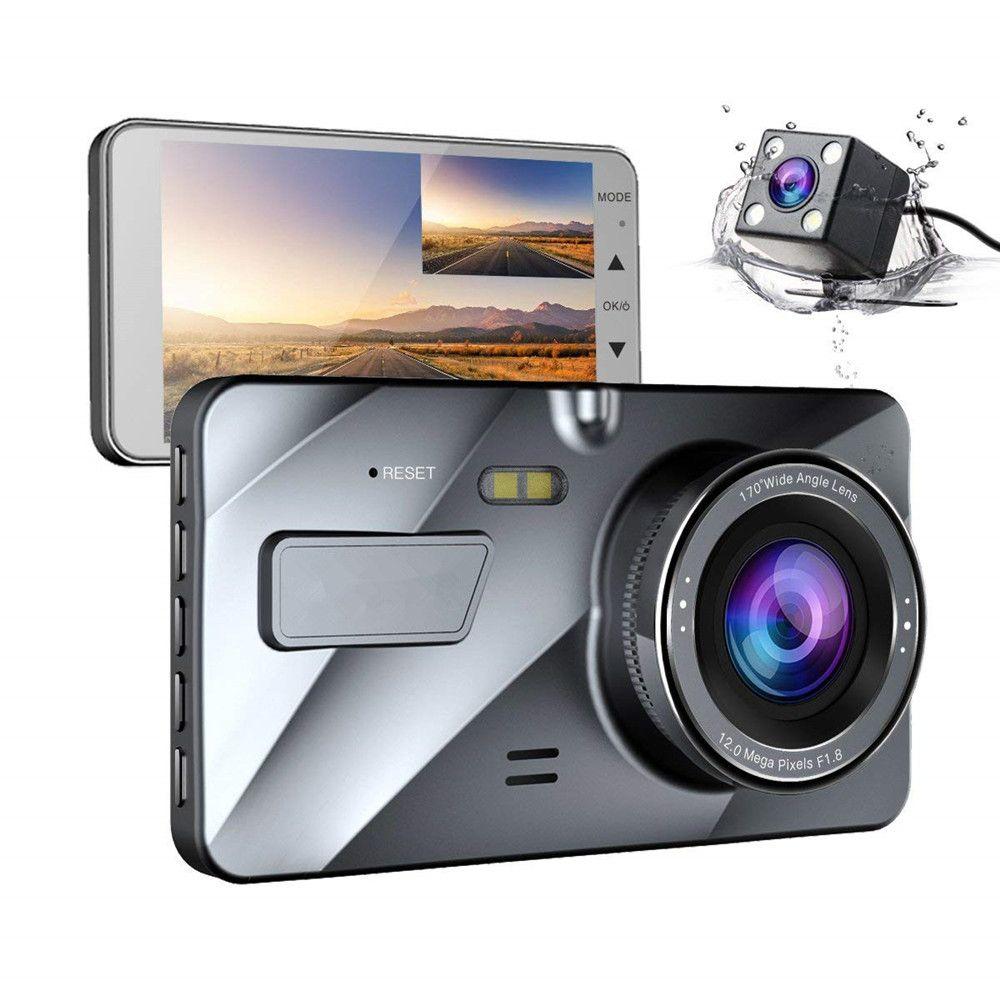 4 IPS Double Lentille Voiture Dash Cam FHD 1080 p Tableau de Bord Caméra 170 degrés Véhicule Conduite Enregistreur DVR G -capteur de Stationnement Moniteur WDR A1