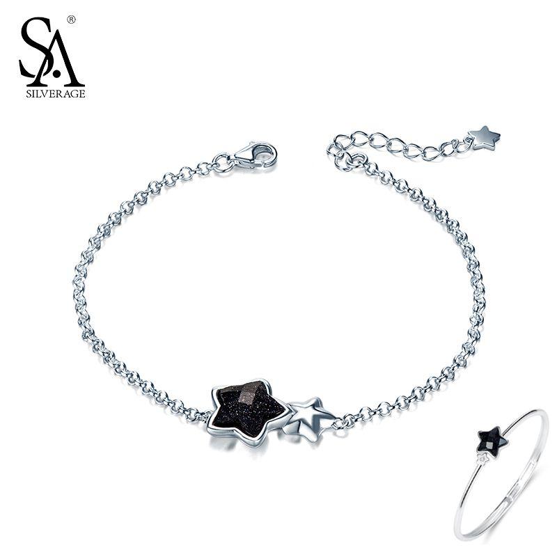 Regalo de Año Nuevo Negro piedra preciosa estrella Pulseras y brazaletes para las mujeres 925 plata esterlina pulsera Aventurina mujeres Joyería fina