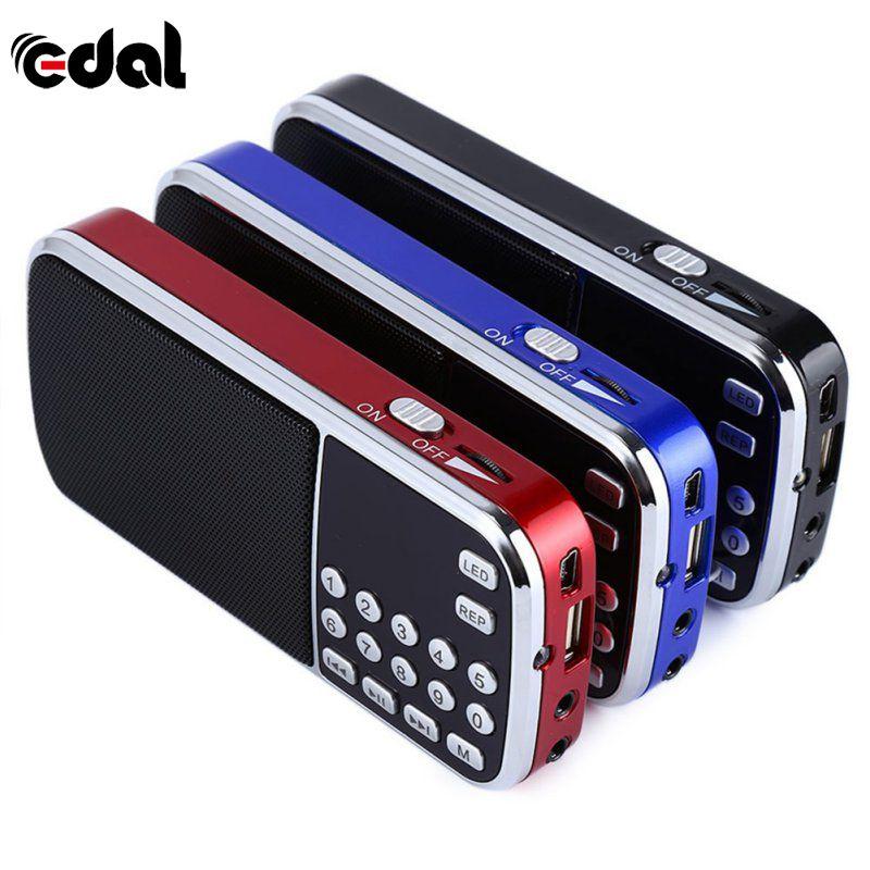 Bleu Noir Rouge Mini Portable Numérique Stéréo FM Mini Radio haut-parleur Lecteur de Musique avec TF Carte USB AUX Son D'entrée boîte