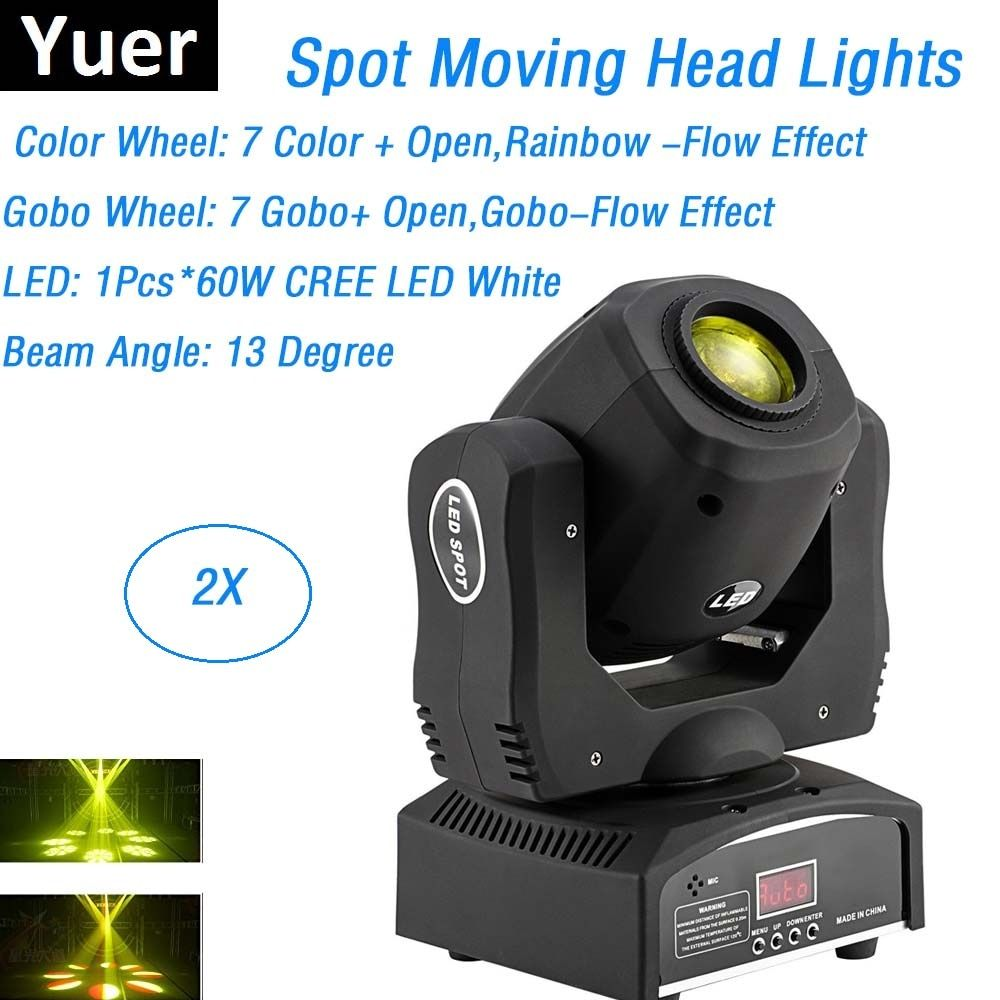 2XLot Mini Spot 60W LED Moving Head Lights 8 Gobos 8 Colors High Brightness 60W LED Dj Spot Lights DMX 9/11 Chs Led Stage Light