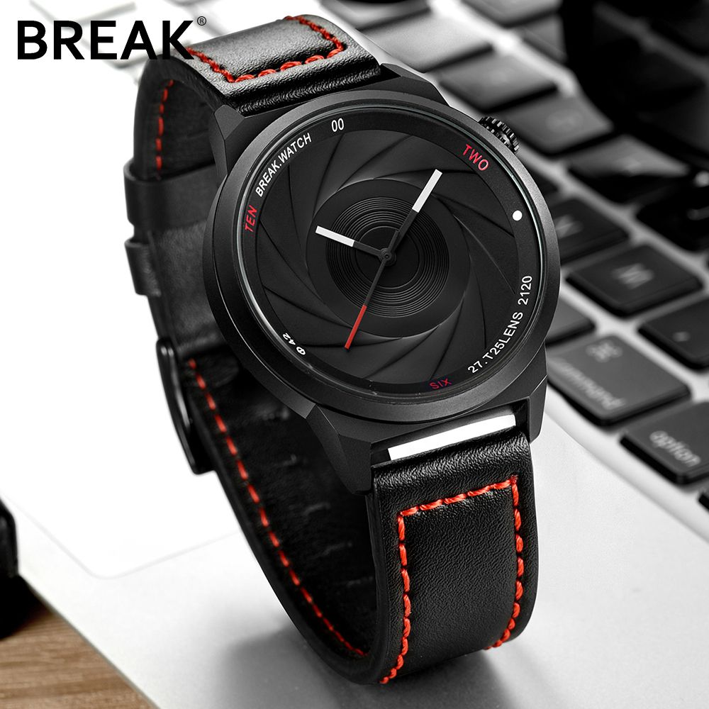 BREAK men unisex unique <font><b>camera</b></font> style stainless rubber band casual fashion sport quartz wristwatch modern gift watch for women
