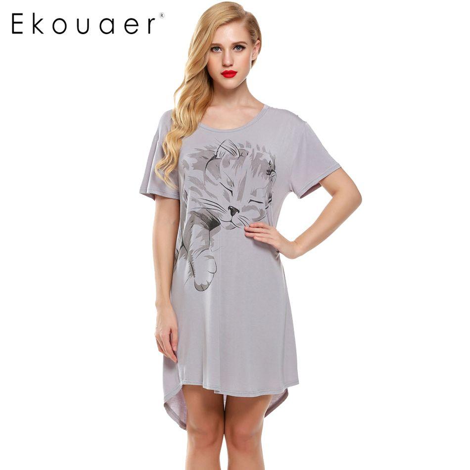 Ekouaer Для женщин Ночные рубашки для девочек летние пижамы Повседневное ночь Платья для женщин плюс Размеры короткий рукав письмо печати своб...