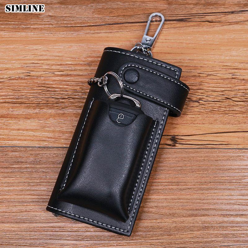 Portefeuille à clés en cuir véritable SIMLINE pour hommes portefeuille à clés en cuir de vachette pour hommes