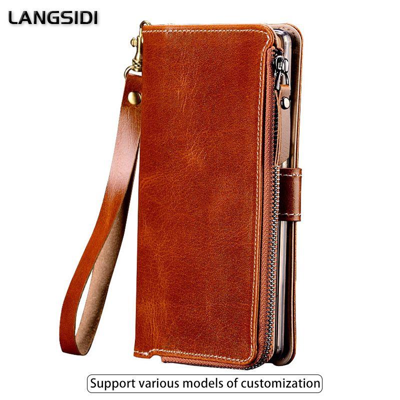 Multifunktionale Reißverschluss Echtes Leder-kasten Für iPhone 6 Brieftasche Ständer Halter Silikon Schützen Telefon-beutel-abdeckung