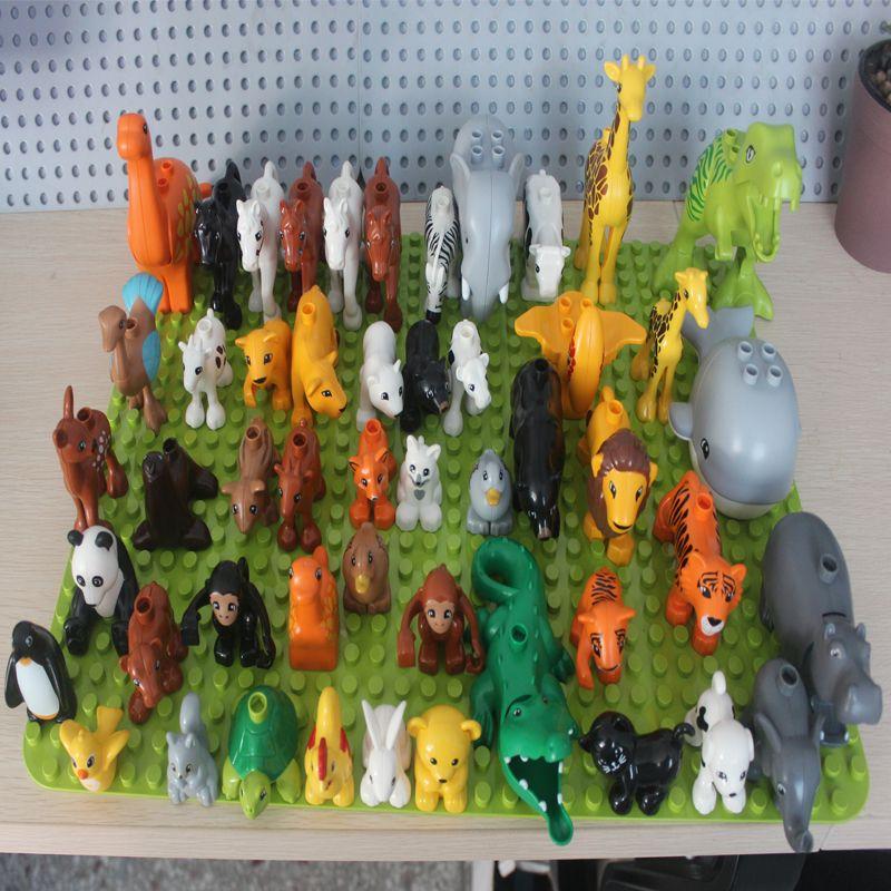 50pcs/lot Duplo Animal Zoo Large Building Blocks Enlighten Child Toys Lion Giraffe Dinosaur DIY Compatible With Brick Kids Gift