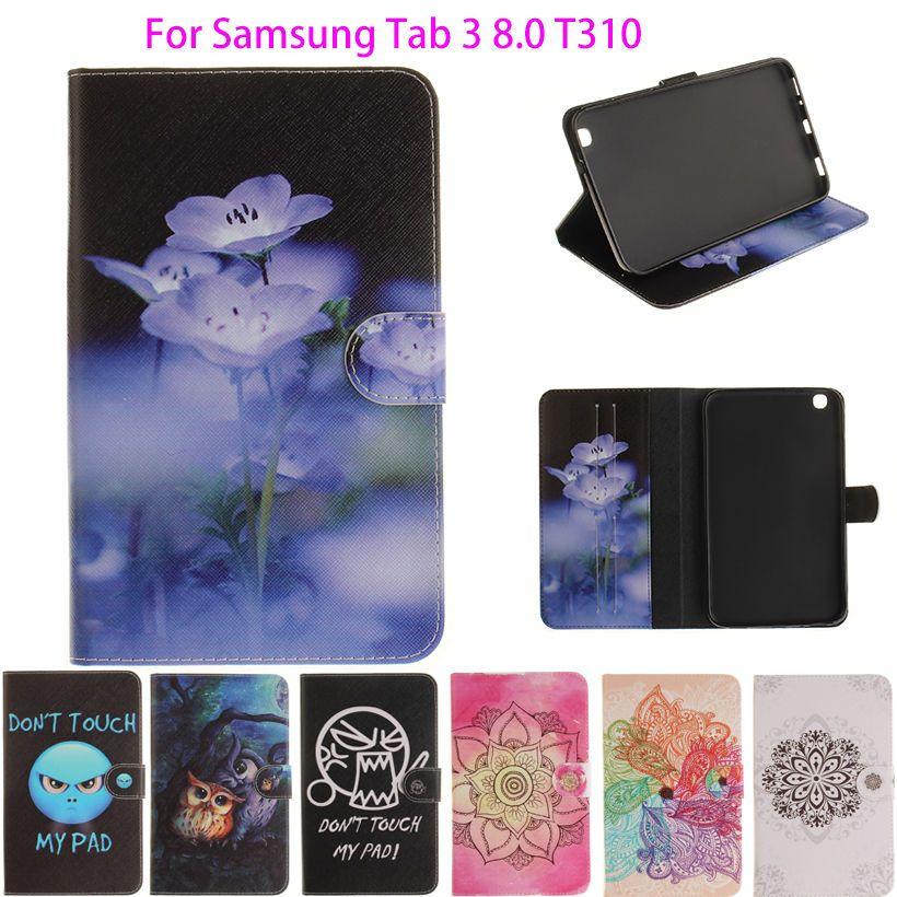 Tablette étui pour samsung Galaxy Tab 3 8.0 pouces SM-T310 T311 T315 Smart Cover Stand Dessin Animé Impression Silicium + Coque En Cuir PU Funda