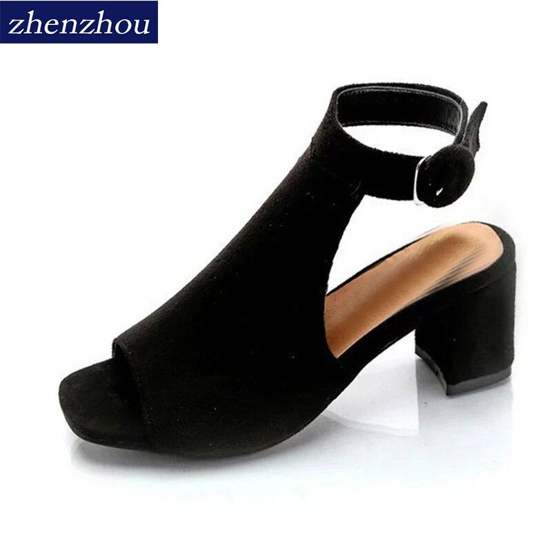 ZHENZHOU Free shipping Women's shoes 2018 brand OL high-heeled woman sandals frosted with <font><b>fish</b></font> mouth ladies sexy sandals