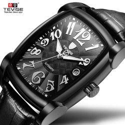 Mewah Merek Pria Watches Tevise Automatic Mekanis untuk Pria Square Tahan Air Pria Jam Tangan Olahraga Pria Jam Tangan