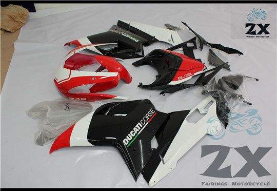 Motorbike White +Black ABS Injection Bodywork Fairing For Ducati 1098 848 1198 2007 2008 2009 white and black uv