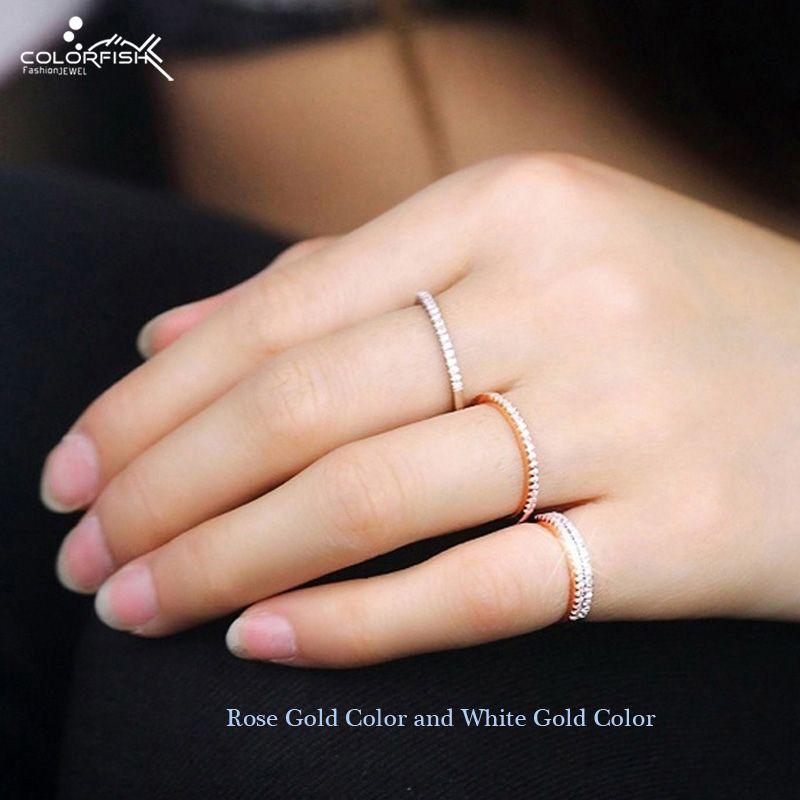 anillos mujer plata 925 oro rosa plateado alianzas de boda Simple Apilable 1mm diamante eternidad dedo anillo joyería de plata esterlina