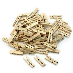 50 PCS Wholesale Very Small Mine Size 25mm Mini Natural Wooden Clips For Photo Clips Clothespin Craft Decoration Clips Pegs