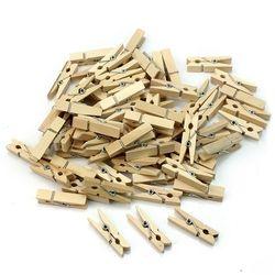 Comercio al por mayor muy pequeña mina tamaño 25mm Mini Clips de madera naturales para la foto decoración del arte de la pinza clavijas 100 piezas