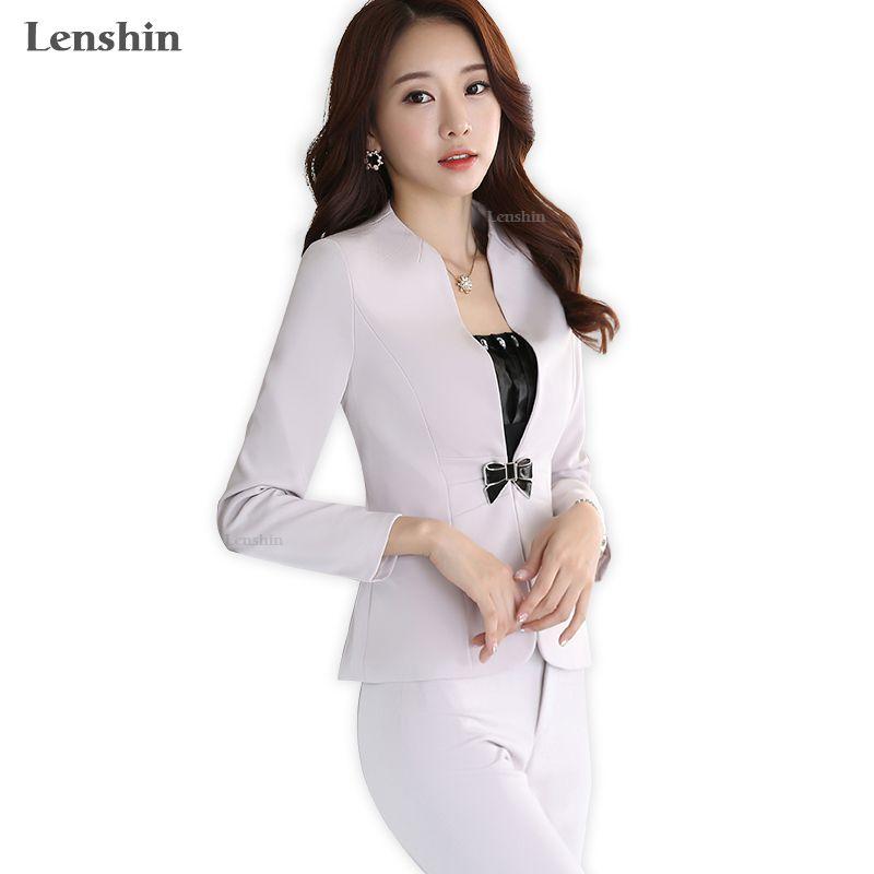 Lenshin 2 Pieces Set Formal Pant Suit Ivory Women Work Wear Office Lady Uniform Style Business