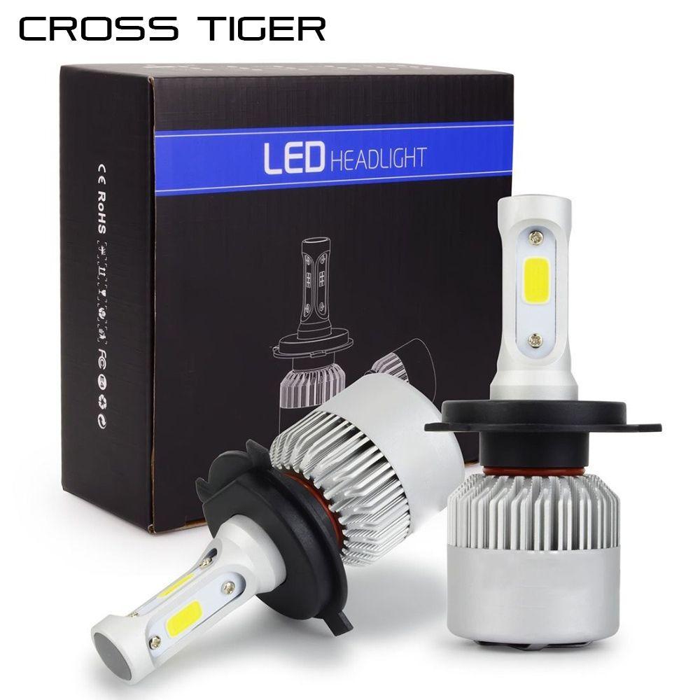 CROSS TIGER LED Car Headlight 10000LM/Set with 3 Sides Light H1 H3 H4 H7 H11 H13 H27 9004 HB3 9006 HB4 9007 HB5 Cree Lamps Bulbs