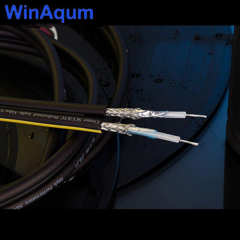 WinAqum Double Rangs Argent Plaqué Cuivre Fil Coaxial Câble Audio Pour BRICOLAGE RCA Fil Ligne de Basse 75-5 câble Audio Vidéo WA-S201
