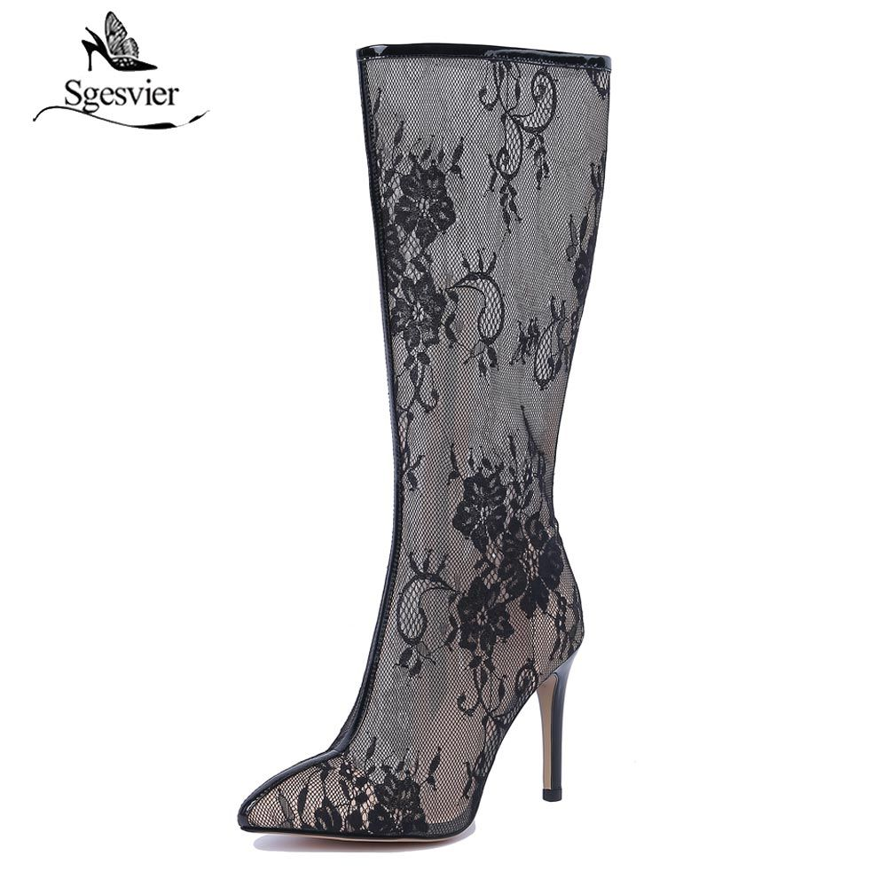 Sgesvier Mid-Calf Summer Boots Thin High Heels Pointed Toe Zipper Sandals Women Shoes Sexy Lace Net Yarn White Shoes B226