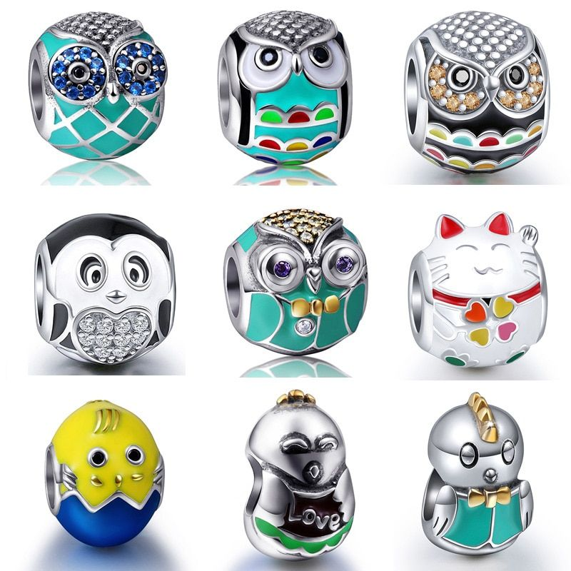 Owl Chick Cat Mix Charm Beads Fits Authentic Pandora Bracelet Silver 925 Charms Original Sterling Silver Jewelry For Women Gifts