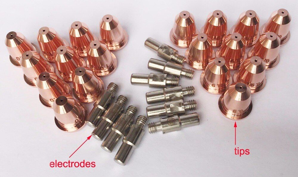 Torch Parts for CUT55 Non HF cutting torch PT60, 10 Electrodes, 20 Tips
