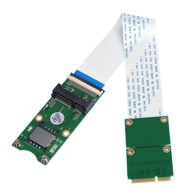 Mini PCI-E X mSATA Flexible Extender Cable Wire with SIM 8Pin Card Slot msata extension cable cord for WindowsXP/7/8/10
