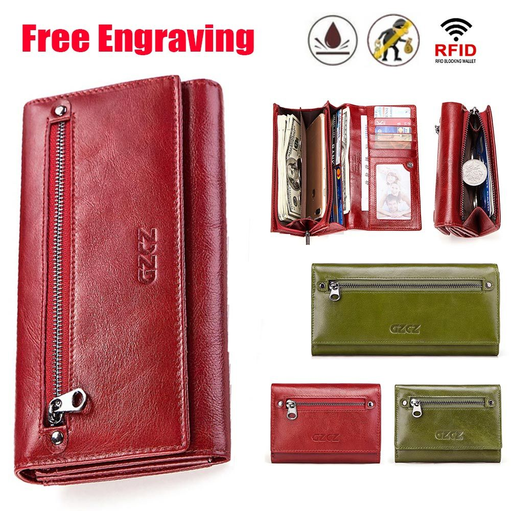 GZCZ Free Engraving Women Genuine Leather Wallets Bifold RFID Wallet Female Zipper Poucht Long Valet Portomonee Clamp For Money