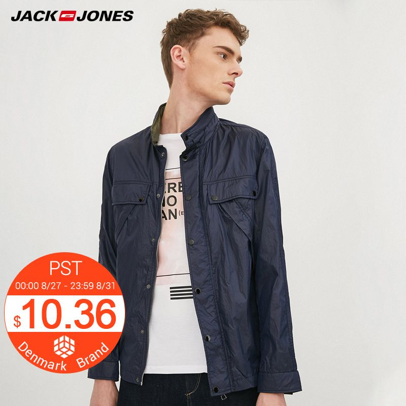 JACK&JONES Brand 2018 NEW regular casual punk style mandarin collar fashion male liner detacheable thin jacket 217121546