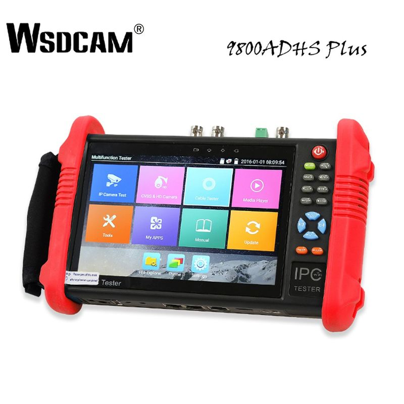 7 zoll CCTV Tester IP Kamera Tester Monitor mit SDI/TVI/AHD/CVI/POE/WIFI /4 K H.265/1080 p HDMI In & Out/RJ45 TDR 9800 ADHS Plus