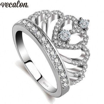 Vecalon 2018 Amateurs Couronne anneau AAAAA Zircon Cz 925 Sterling Argent Rempli Engagement Band anneau de mariage pour femmes hommes