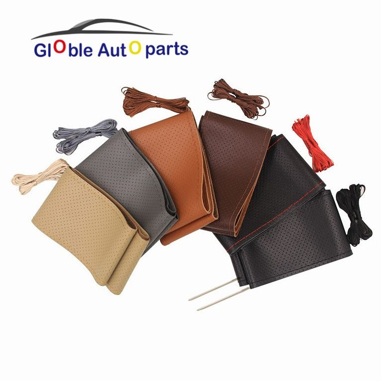 38cm DIY Car Steering Wheel Cover Genuine Leather Steering Covers For Peugeot Toyota Chevrolet VW Kia Nissan steering-wheels